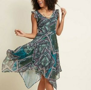 Modcloth Green Paisley Handkerchief Hem Dress